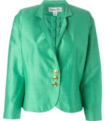 christian dior pre-owned brushed satin cropped jacket - green