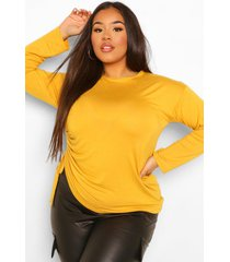 plus ruched side longsleeve t-shirt, mustard