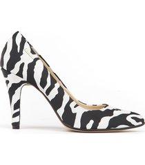skórzane szpilki zapato 035 cz. biała zebra
