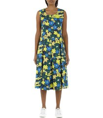 rainbow flower printed cotton dress with pleats
