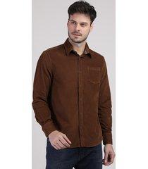 camisa de veludo cotelê masculina tradicional com bolso manga longa marrom