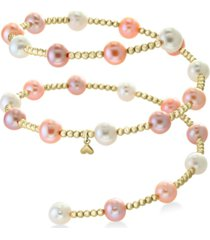 effy white cultured freshwater pearl (7mm) coil bracelet in 14k gold (also in multicolor cultured freshwater pearl)