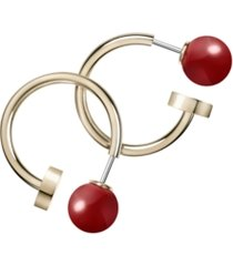 calvin klein bubbly stainless steel and pvd champagne gold red coral stone earrings