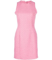 balmain fitted tweed dress - pink