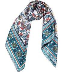 lenço smm acessorios floral azul e off white