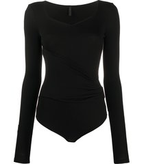 unravel project ribbed ruched bodysuit - black