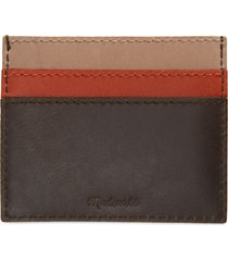 madewell the leather card case: gingham edition in burnished stone multi at nordstrom