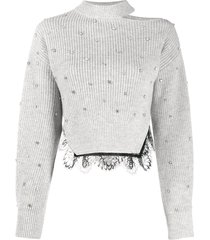 self-portrait lace-hem crystal sweater - grey