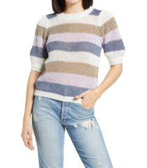 aware by vero moda oui hedwig short sleeve sweater, size large in fallen rock stripe at nordstrom