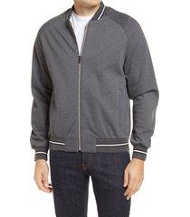 men's bugatchi performance knit bomber jacket, size medium - grey