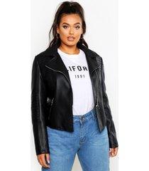 plus leather look quilted biker jacket, black