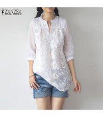 zanzea mujeres de manga larga bordado ganchillo tapas de la camisa de cuello v suelta la blusa llanura plus -blanquecino