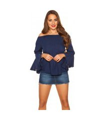 sexy off shoulder shirt met volant marineblauw