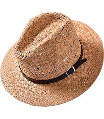 unisex panama estiva pieghevole traspirante da con protezione di radiazione solare di stile jazz cowboy cappello di paglia da spiaggia