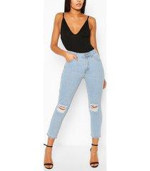 versleten mom jeans met hoge taille, lichtblauw