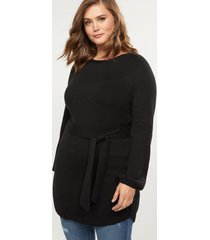 lane bryant women's belted tunic sweater 22/24 black