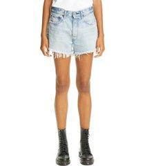 women's moussy mv mathews denim shorts, size 26 - blue