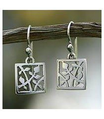 sterling silver dangle earrings, 'cacao tree' (mexico)
