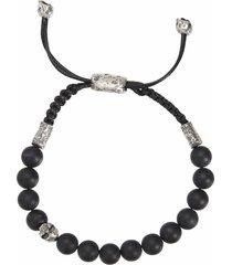 onyx and skull bead bracelet