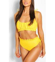 bikini met ruches en hoge taille, geel