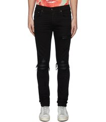 'mx1' pleated leather patch skinny jeans