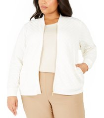 charter club plus size textured knit bomber jacket, created for macy's