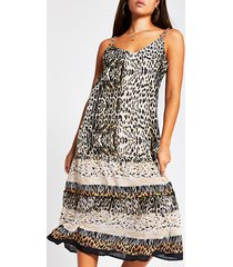 river island womens brown animal print cami mid beach dress