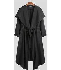 incerun hombres moda casual chaleco largo capa suelta