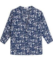 blusa manga 3/4 estampada color azul, talla l