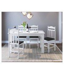 conjunto mesa fixa 4 cadeiras branco e preto lilies móveis