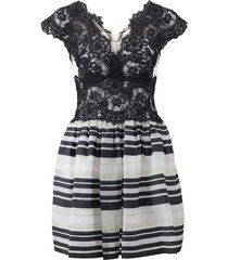 lace top with stripe bottom dress