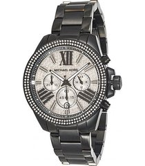 new womens michael kors (mk6059) wren black strap silver glitz dial watch