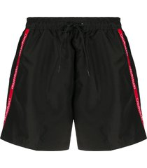 calvin klein side logo detail drawstring swim shorts - black