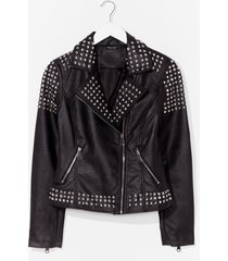 womens born to be wild faux leather studded jacket - black