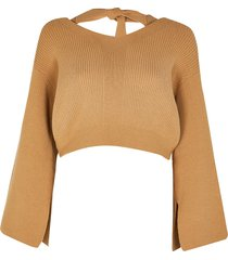 river island womens petite brown lounge tie bow back knitted top
