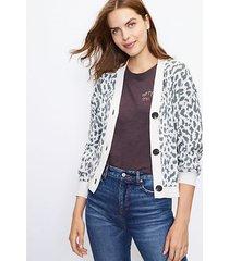 loft cropped leopard print v-neck cardigan