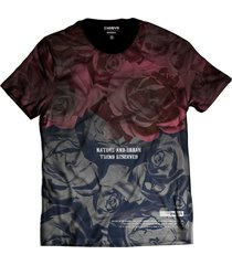 camiseta di nuevo estampa total rosas vermelhas degradê rap preta
