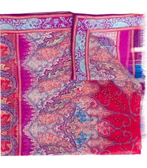 etro raw edge floral print scarf - purple