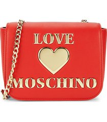 love moschino women's faux leather logo crossbody bag - red
