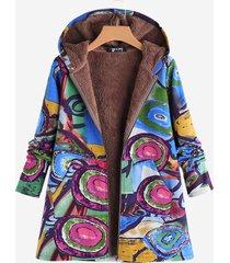 cappotto con cappuccio stampa fantasia