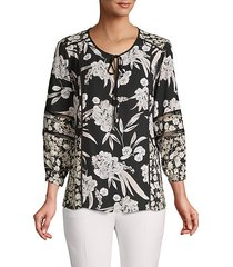 floral printed tie-front blouse