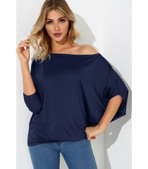 navy pleated design one shoulder long sleeves t-shirt