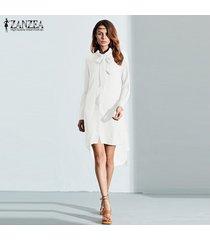 zanzea fashion blusas venta caliente camisa de mujer vestido de manga larga casual amsymetircal blusas de gasa tallas grandes s-5xl tops (blanco) -blanco