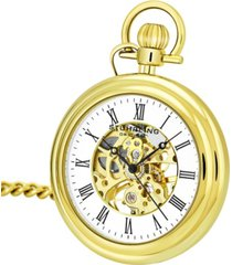 stuhrling original stainless steel gold tone pocket watch on gold tone chain, white dial, with black accents
