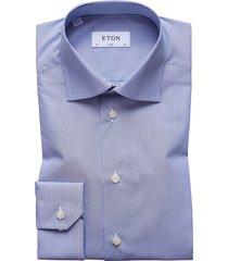 men's eton slim fit stripe dress shirt, size 16 - blue