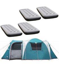barraca camping nautika arizona gt 9/10 pessoas + 4 colchões solteiro inflável fit ecologic