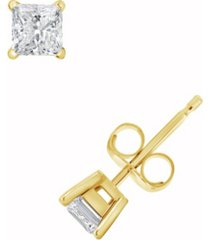 certified princess cut diamond stud earrings (3/4 ct. t.w.) in 14k white gold or yellow gold