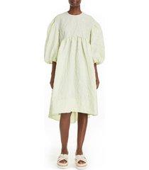 women's simone rocha floral balloon sleeve cloque dress, size 0 us / 4 uk - green