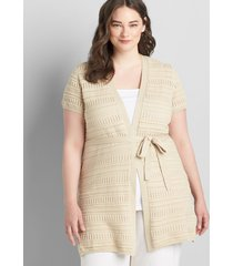 lane bryant women's short-sleeve belted duster overpiece 10/12 brown rice
