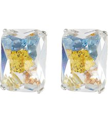 'dispersion' spinel cubic zirconia crystal rhodium plated sterling silver stud earrings